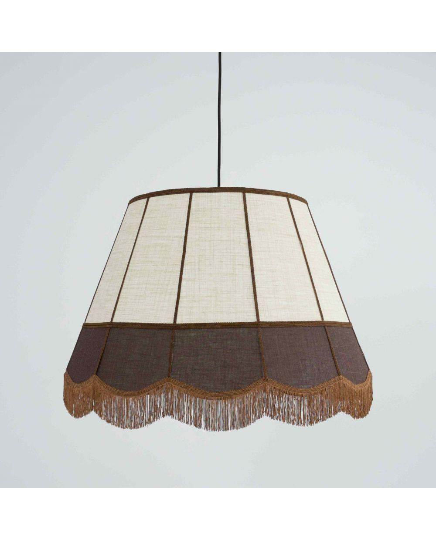 Lámpara rústica techo pantalla flecos lino vintage de y OkXZiPu