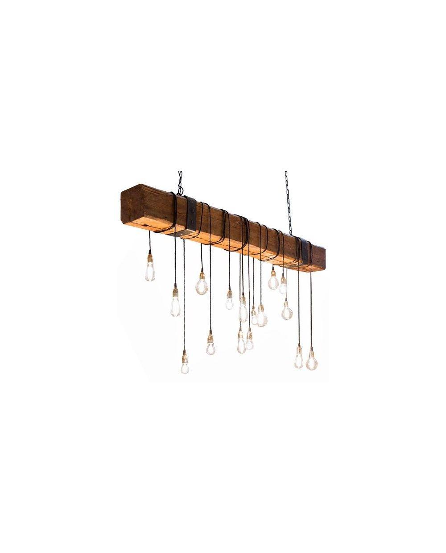 de techo forja Lámpara rústica de hierro madera viga H9YEIeWD2